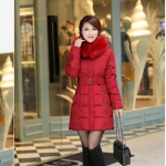 เสื้อกันหนาวตัวยาวไซส์ใหญ่ ผ้าหนา ปกขนเฟอร์ มีฮู้ดขนเฟอร์ สีน้ำตาลแดง (XL,2XL,3XL,4XL,5XL,6XL)