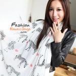 ผ้าพันคอแฟชั่นรูปม้าลายลายหัวใจ : White Zebra CK0181