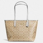 Coach Signature City Zip Tote # 36876 สี Light Khaki Chalk