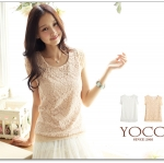 ♡♡Pre Order♡♡ เสื้อผ้าลูกไม้สีขาวครีมถักทั่วตัวดูหรูหรามากๆ คอกลมแขนกุด ใส่เป็นเสื้อตัวนอกดูดี สวย น่ารักมากๆ ค่ะ สำเนา