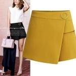 กางเกงแฟชั่นสาวอวบ ขาสั้น สีดำ/สีเหลืองขมิ้น (XL,2XL,3XL,4XL,5XL)