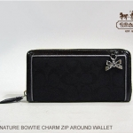 COACH Signature Bow Charm Zip Around wallet # 48135 สี Black