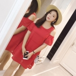 ชุดเดรสสีแดงสำหรับหญิงอวบ เว้าไหล่ แขนสั้น (3XL,4XL,5XL) LYX7389(R)