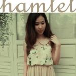 """""""พร้อมส่ง""""เสื้อผ้าแฟชั่นสไตล์วินเทจราคาถูก Hamlet แซกผ้าลายผีเสื้อท่อนบน -สีชมพู"""