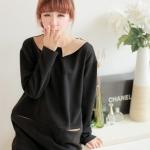 """""""พร้อมส่ง""""เสื้อผ้าแฟชั่นสไตล์เกาหลีราคาถูก Brand Chuvivi เดรสไหมพรมสีดำ แขนยาว คอปกสีน้ำตาล กระเป๋า2ข้าง ไม่มีซับใน"""