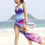 ผ้าคลุมชายหาดลายดอกไม้ Blossom : สีโทนน้ำเงินม่วง AB0008