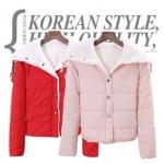"""""""พร้อมส่ง""""เสื้อผ้าแฟชั่นสไตล์เกาหลีราคาถูก เสื้อกันหนาวแบบนวม ด้านในบุขน กระดุมหน้า รูดเชือกที่คอ กระเป๋า 2ข้าง ใส่แล้วอุ่นค่ะ -สีชมพู"""