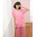ชุดนอนผ้าฝ้ายปกตั้ง แขนสั้นลายหวานน่ารัก สีชมพู ไซส์ M L XL 2XL 3XL