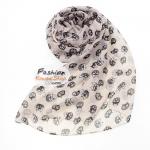ผ้าพันคอแฟชั่นลายแมวน้อย : สีครีม CK0263