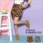 ♥♥พร้อมส่งค่ะ♥♥ กระโปรงสั้น ลายเสือดาว wild leopard พร้อมโบว์ตรงช่วงเอว สีน้ำตาลทอง
