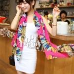 ผ้าพันคอลายดอกไม้ Colorful flower สี Pink ผ้าพันคอ Silk Chiffon - size 160 x 60 cm