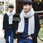 ผ้าพันคอไหมพรมถัก Knit Scarf - size 160x30 cm - สี Light Gray