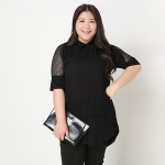 เสื้อชีฟองสีดำ XL 2XL