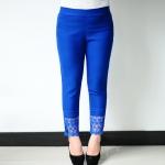 เลคกิ้ง/กางเกงผ้ายืดขายาว แฟชั่นเกาหลีไซส์ใหญ่ ปลายขาเป็นผ้าลูกไม้สวยหวาน สีน้ำเงิน (L,XL,2XL,3XL,4XL,5XL)