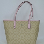 Coach Signature City Zip Tote # 36876 สี Light Khaki Pink
