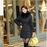 เสื้อกันหนาวตัวยาวไซส์ใหญ่ ผ้าหนา ปกขนเฟอร์ มีฮู้ดขนเฟอร์ สีดำ (XL,2XL,3XL,4XL,5XL,6XL)