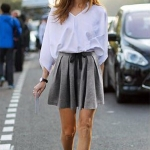 กางเกงขาสั้นผ้าลินินจีบทวิสทรงเอ สีเทา (XL,2XL,3XL,4XL,5XL)