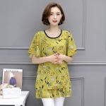 เสื้อชีฟองสีเหลืองลายดอกไซส์ใหญ่ แขนผีเสื้อ ชายเสื้อเลเยอร์ (L,XL,2XL,3XL,4XL,5XL)