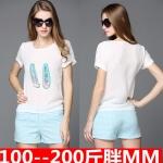&#x2665พร้อมส่ง&#x2665 ชุดเซ็ท 2 ชิ้น เสื้อยืดสีขาวพิมพ์รูปภาพ+กางเกงขาสั้นลายสก๊อตสีฟ้า (2XL)