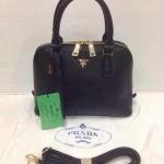 กระเป๋า Prada  ทรง Alma ขายดีตลอดกาล แบบดาราใช้ อะไหล่ปั้ม หนังเนี๊ยบ  Size 10x7 นิ้ว สีดำ
