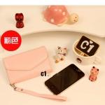 กระเป๋าใส่iPhone แบบ3พับ -สีชมพูอ่อน
