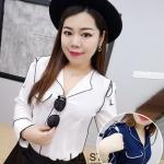 เสื้อเชิ้ตชีฟองไซส์ใหญ่ สีขาว/สีกรมท่า คอวี แขนยาว (XL,2XL,3XL,)