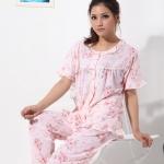 ♥พร้อมส่ง♥ ชุดนอนผ้าฝ้าย สีชมพูลายดอก ไซส์ 3XL