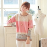 """""""พร้อมส่ง""""เสื้อผ้าแฟชั่นสไตล์เกาหลีราคาถูก Brand Chuvivi เเสื้อกันหนาวไหมพรม สีครีมชมพู หวานๆ ลายน่ารัก"""