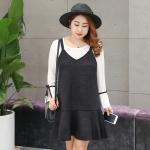 ชุดเดรส 2 ชิ้น เสื้อสีขาวแขนยาว+เดรสหนังนิ่มสายเดี่ยวสีดำ (XL,2XL,3XL,4XL)