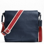 COACH MEN'S HERITAGE WEB LEATHER MAP CROSSBODY/MESSAGE BAG # 70555 สี NAVY RED