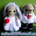 ตุ๊กตาถักไหมพรม คู่แต่งงาน ขนาดสูง 11 นิ้ว <<< ขายแล้ว >>>