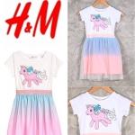 """H&M เดรสยูนิคอน แต่งผ้ามุ้ง (ตำหนิสกรีนแตก) 10-12ปี อก 39"""" ยาว 29"""""""