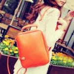 """""""พร้อมส่ง""""กระเป๋าแฟชั่น Maomao กระเป๋าเป้ หนังเรียบ นิ่ม ถอดสายได้ ทรงสวย สายซิปเอามาล็อกด้านหน้าได้ เก๋ค่ะ -สีส้ม"""