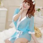 เสื้อชุดคลุมนอนซีทรูสีฟ้าแบบบางสดใส
