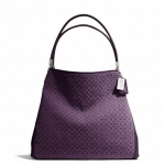 COACH MADISON SMALL PHOEBE SHOULDER BAG IN OP ART NEEDLEPOINT FABRIC # 26281 สี  SILVER/BLACK VIOLET