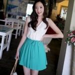 """""""พร้อมส่ง""""เสื้อผ้าแฟชั่นสไตล์เกาหลีราคาถูก Brand Cherry dress เดรสเสื้อลูกไม้สีขาว แขนกุด คอวี ต่อกระโปรงสีเขียว จั๊มเอว มีซับในทั้งตัว ผูกโบว์ที่เอว"""