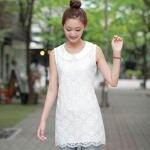"""""""พร้อมส่ง""""เสื้อผ้าแฟชั่นสไตล์เกาหลีราคาถูก Brand Magic closet เดรสแขนกุด คอปก ผ้าโปร่งลายดอกไม้ซับในด้านหน้า ชายด้านหลังยาวกว่าด้านหน้า ติดซิปหลัง สีขาว สวยค่ะ"""