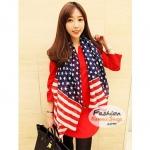 ผ้าพันคอแฟชั่น ลายธงชาติสหรัฐอเมริกา American Flag CK0434