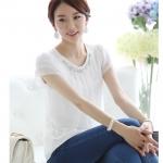 เสื้อทำงานผู้หญิงแขนสั้นแฟชั่นสีขาว