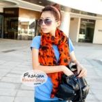 ผ้าพันคอแฟชั่น ลายช้าง Elephant : สีส้ม CK0440