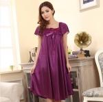 ชุดนอนไซส์ใหญ่ ผ้ามันลื่น สีม่วงเข้ม (L,XL,2XL)