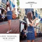 bb434044 Denim Jumper High-waist Skirt เอี้ยมกระโปรงยีน เอวสูง ทรงสอบ ลุคสาวมั่น เท่ๆเก๋ น่ารัก แบบสาวเกาหลีค่าาา