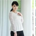 เสื้อลูกไม้ สีขาว ใต้อกลงไปเป็นผ้าชีฟองจีบ แบบหรูสง่างาม (L,XL,2XL,3XL,4XL,5XL)