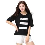 เสื้อยืดแขนสั้นปักลายตัวอักษรภาษาอังกฤษสไตล์เกาหลีไซส์ใหญ่ สีขาว/สีดำ/สีชมพู (XL,2XL,3XL,4XL)