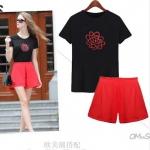 ชุดเซ็ท เสื้อยืดสีดำ+กางเกงขาสั้นเอวยางยืดสีแดง XL 2XL 3XL 4XL 5XL
