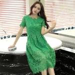 เดรสยาวผ้าลูกไม้สีเขียวไซส์ใหญ่ แขนสั้น (XL,2XL,4XL)