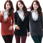 เสื้อยืดคอถ่วงมีปกตัดต่อผ้าแขนยาว สีเทาเข้ม/สีดำ/สีส้ม XL 2XL 3XL 4XL