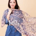 ผ้าพันคอลายดอกไม้ Flora Pattern : สี Nude Pink ผ้า viscose size 180x80 cm