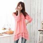 เสื้อชีฟองบางตัวยาว สีชมพู (XL)