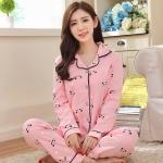 ชุดนอนผ้าฝ้ายไซส์ใหญ่ ปกเชิ้ต ติดกระดุม แขนยาว-ขายาว สีชมพูลายหมีแพนด้า (XL,2XL,3XL)